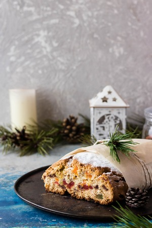Their Christmas Stollen cheesecake with dried fruits and candied fruits