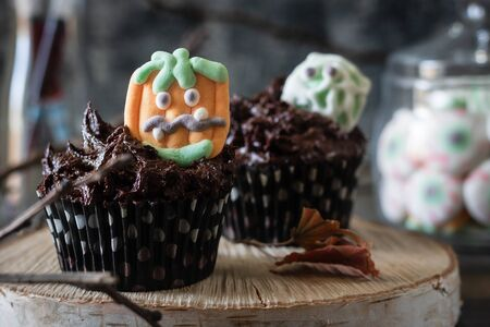Chocolate Cupcakes with Chocolate Cream Decorated with Creepy Marshmallow Sweets for Halloween Party. Halloween food.