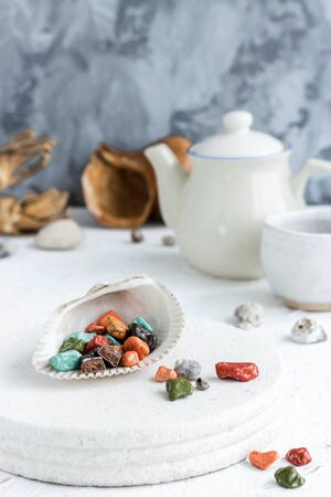 Fancy chocolates in the shape of sea pebbles. Stock fotó