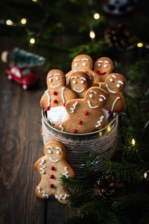 Traditional cookies for the new year and christmas. Gingerbread men. Festive dessert.
