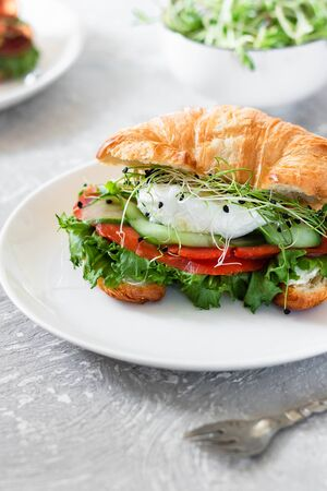 Croissant with red fish, poached egg and microgreens. Sandwich in a croissant. Healthy snack