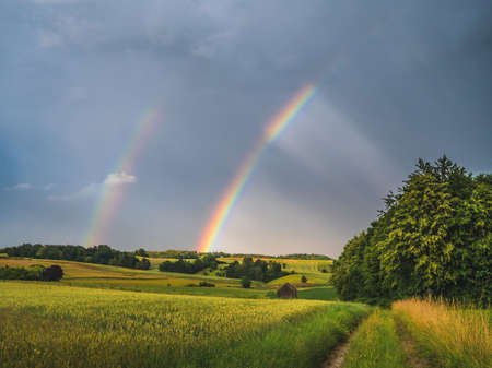 Double Rainbow over rural landscape in bavaria