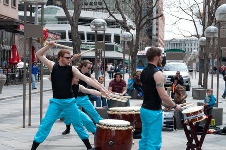 Street performers in downtown Denver