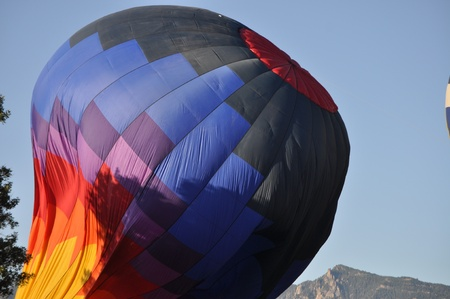 inflating: inflating hot air balloon