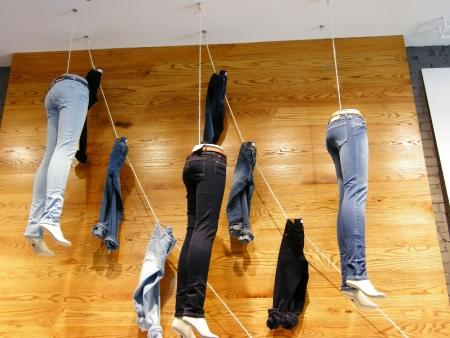 hanging jeans display