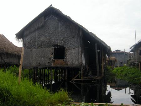 inle: Floating house on Inle Lake in Myanmar