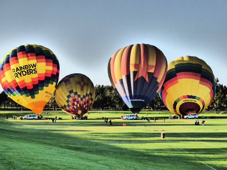 Beautiful hot-air balloons ready to lift off