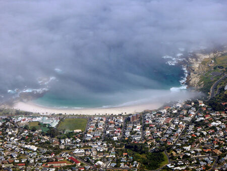 capetown: From the top of Table Mountain looking down into Capetown, South Africa Stock Photo
