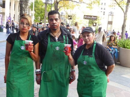 denver 16th street mall: Starbucks zombies Editorial
