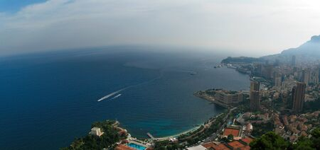 Aerial Panoramic view of Monaco, France and the Mediterranean sea / Cote d'Azur in summer