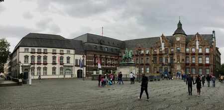 DUSSELDORF, GERMANY - JULY 14, 2019: Old and Historic Townhall / City Hall and monument of Johann Wilhelm II (Jan Wellem)