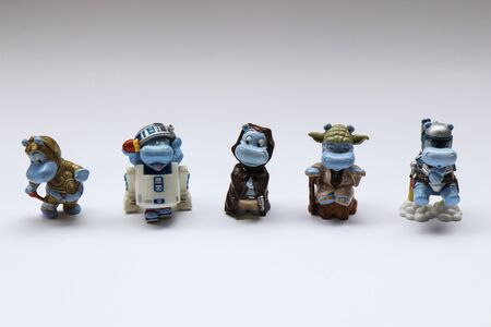BERLIN - AUGUST 27, 2019: Vintage Star Wars Toy Figures from the Kinder Surprise Happy Hippo collection. It was released in Germany in 2002. Editöryel