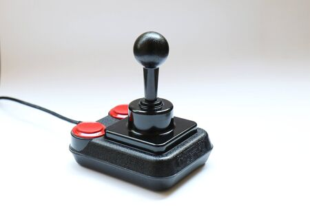 BERLIN - AUGUST 27, 2019: Classic Retro Joystick Competition Pro from the Eighties on white. It was very popular with Commodore Amiga and C64 Gaming Computers
