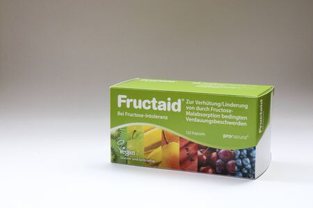 BERLIN - AUGUST 30, 2019: Box of Fructaid Capsules. A medicine that helps people with Fructose Intolerance / Malabsortion to digest fruit sugar that is in fruits, vegetables and many other food. Editöryel