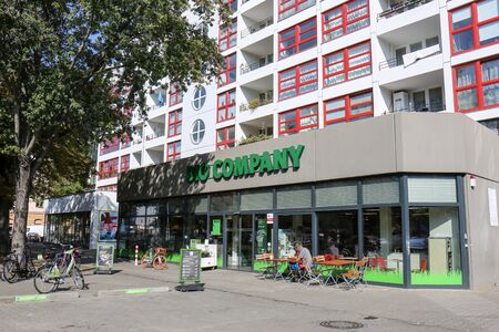 BERLIN, GERMANY - SEPTEMBER 11, 2019: Shopfront of Organic Supermarket Bio Company in Kreuzberg. It's a large chain selling organic food and promoting healthy and eco-friendly living.