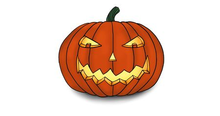 Grinning Halloween Pumpkin Illustration illuminated from within by a candle on White. Stok Fotoğraf