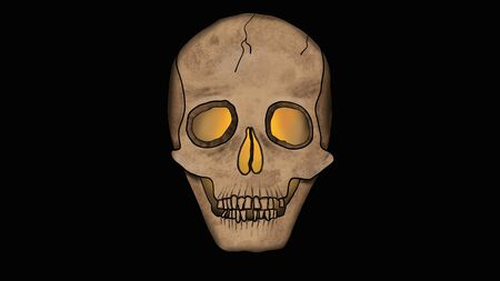 Scary Skull glowing from the inside isolated on Black - Spooky Illustration in Cartoon Style. Stock Illustration - 133671931