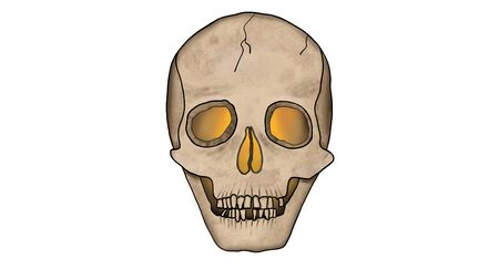Scary Skull glowing from the inside isolated on White with cracks - Spooky Illustration in Cartoon Style. Stock Photo