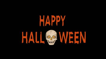 Orange Happy Halloween Text with a spooky Ghost Skull with glowing eyes isolated on Black. Stok Fotoğraf