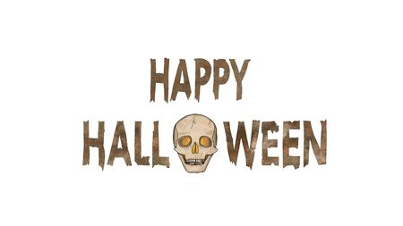 Happy Halloween Text with a spooky Ghost Skull with glowing eyes isolated on White.