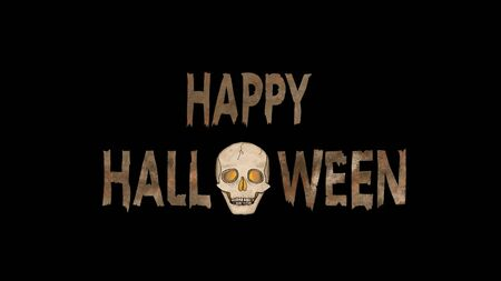 Happy Halloween Text with a spooky Ghost Skull with glowing eyes isolated on Black. Stok Fotoğraf - 133671934