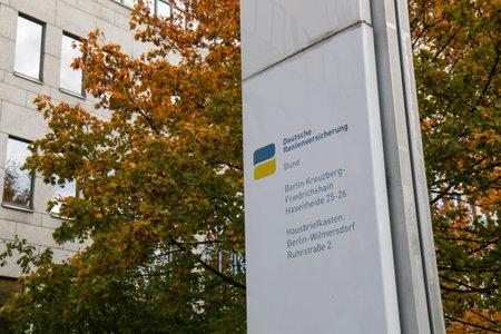 BERLIN - NOVEMBER 8, 2018: Sign of Deutsche Rentenversicherung / Pension Insurance in Kreuzberg in fall