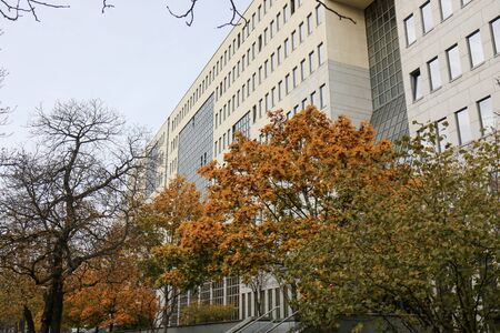 BERLIN - NOVEMBER 8, 2018: Large Deutsche Rentenversicherung / Pension Insurance Building in Kreuzberg in fall with autumn colors