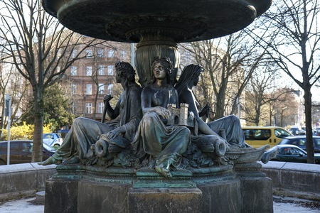 Wrangel fountain, a fountain in Berlin-Kreuzberg, built in 1877 by Hugo Hagen. Four figures personifying the four rivers Rhine, Vistula, Elbe and Oder. Built in marble, granite and bronze - neoclassicism