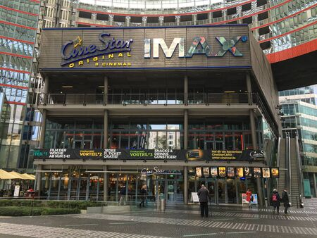 BERLIN - NOVEMBER 17, 2019: Front of CineStar Original and Imax Cinema at Potsdamer Platz. A big multiplex movie theater with nine screens, showing only films in the original german language. Closing in december 2019.