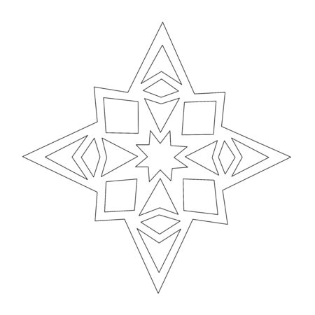 Christmas Star Line Drawing. Traditional Window Decoration Cut-Out. Black lines isolated on white.
