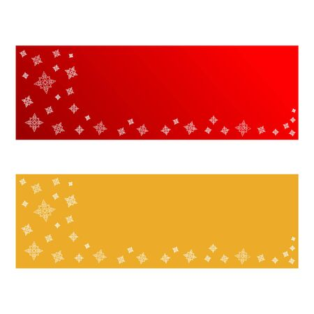 Christmas Banners with White Stars in Red and Gold. Illustration isolated on white.