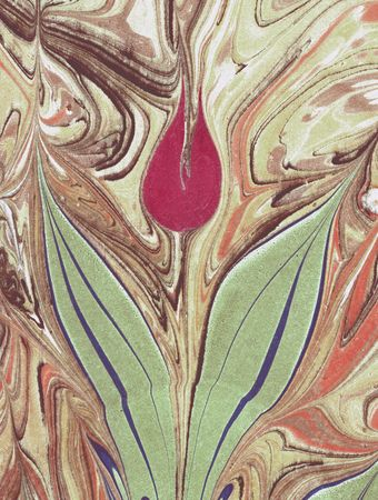 water stained: Marbled Tulip on paper