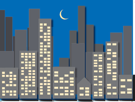 city skyline night: Cityscape Illustration