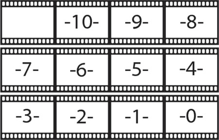 Count back film strips illustration as vector