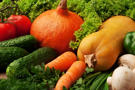 Close up of various colorful raw vegetables.