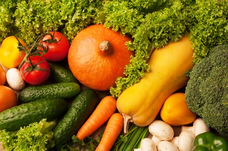Colorful vegetables background top view. Stock Photo
