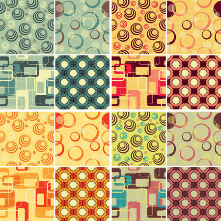 4 Retro patterns, using 4 different colour schemes Stock Vector - 27494087