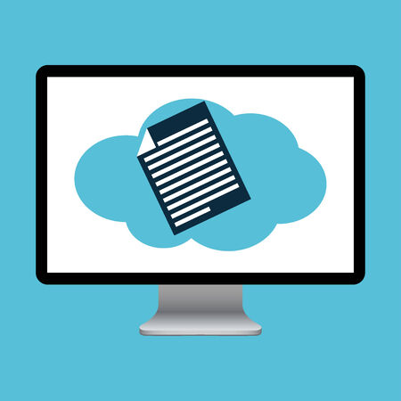 data archiving: Computer screen with cloud Illustration