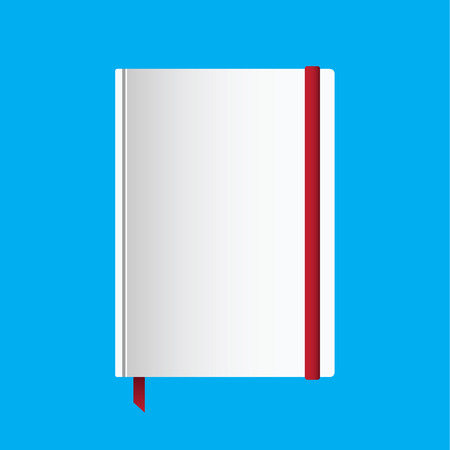 rubber band: Notebook with red rubber band, red bookmark, and blank white cover for branding and design Illustration