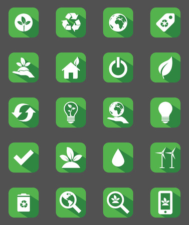 Set of green flat design icons Vector