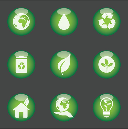 Set of 9 green icons Vector