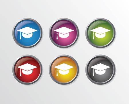 doctorate: Graduation cap buttons