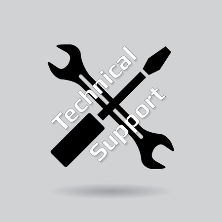 Technical support symbol over gray background Stock Vector - 28573286