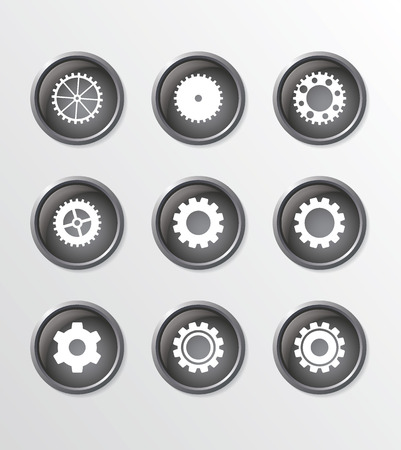 gearings: Set of 9 simple buttons, with cogwheels symbols on it Illustration