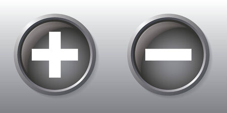 minus sign: Plus and minus sign gray buttons Illustration