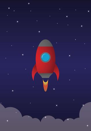 ventana ojo de buey: Cohete rojo volando por el cielo de la noche
