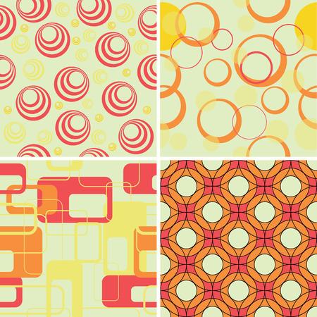 revivalism: A set of 4 retro seamless patterns Illustration