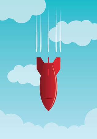 bomber plane: Red bomb falling across sky