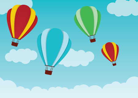 multi: Multi coloured hot air balloons, travelling through the sky