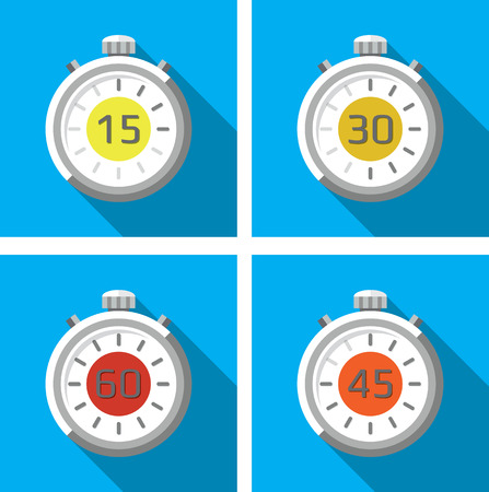 Set of four timers  stopwatches   Flat design Vector